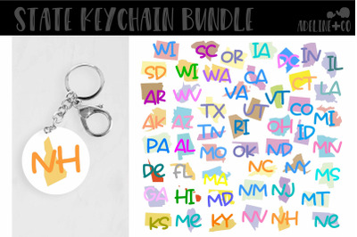 Round keychain State bundle, SVG
