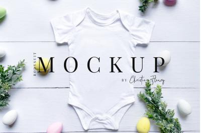 Easter Baby Bodysuit Mockup Farmhouse style- Easter Mockup