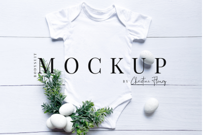 Minimal Easter Eggs Baby Bodysuit- Easter Mockup