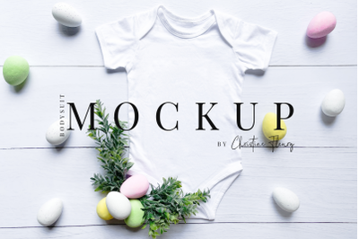 Colorful Easter Eggs Baby Bodysuit Mockup - Easter Mockup