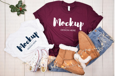 Maroon Mother Daughter Christmas Shirt Mockup
