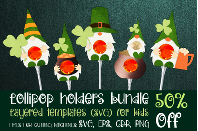 St. Patricks Gnomes - Lollipop Holders bundle SVG