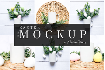 6 Easter Mug Mockup - Minimal Farmhouse Easter Mockup