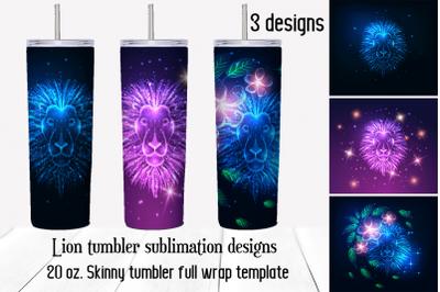 Lion tumbler sublimation designs. Skinny tumbler waterslide.