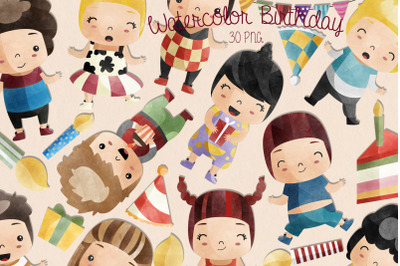 Watercolor Birthday Clipart | Set of 30 |