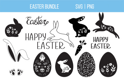 Easter SVG Bundle, Easter Bunny and Eggs SVG cut files