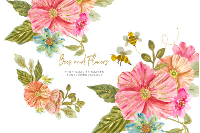Bee Pink & Peach Flowers Watercolor Clipart, Hand Painted