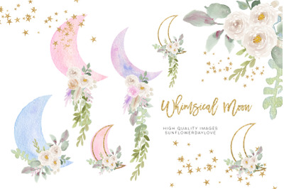 Moon Clouds Stars clipart, Greenery Gold Glitter Whimsical
