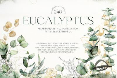 Eucalyptus watercolor abstract floral clipart