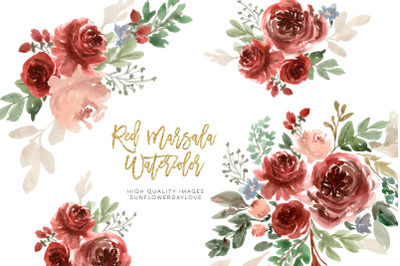 Marsala Watercolor Clipart Flowers, Flower clipart wedding