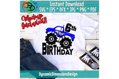 Monster truck Birthday svg, 6, Six, monster truck svg, Sixth Birthday