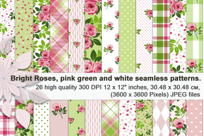 Bright Roses, pink green and white seamless patterns.