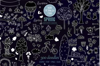 Spring Season White Doodles | Gardening, Bugs, Bicycle, Birds, Flowers