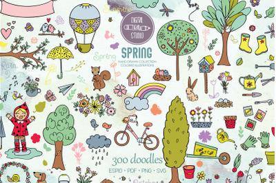 Spring Season Color Doodles | Gardening, Bugs, Bicycle, Birds, Flowers