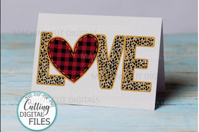 Love Affection Card svg dxf pdf paper cut digital template