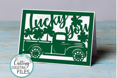 St. Patrtick's Day cut out card with truck svg dxf papercut template