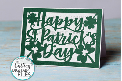 Happy St. Patrtick's Day cut out card svg dxf papercut