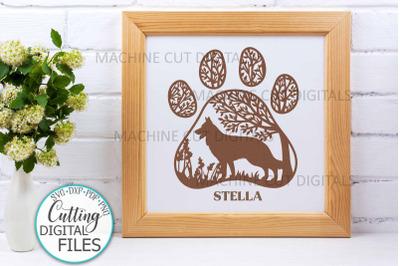 German Shepherd Paw Dog round sign svg dxf pdf cut out file