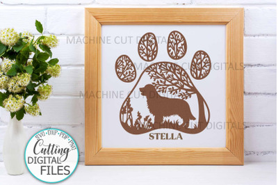 Golden Retriever Paw Dog round sign svg dxf pdf cut out file