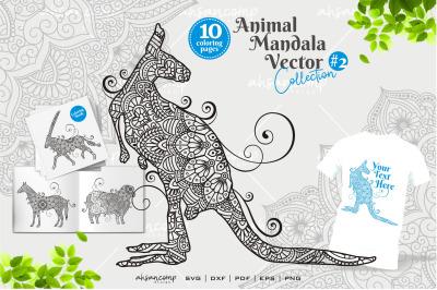 Animal Mandala Vector Coloring Book #2