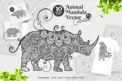 Animal Mandala Vector Coloring Book #3