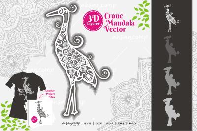 Crane Mandala Vector SVG #2 3D Layered