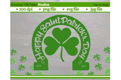 Happy Saint Patrick's day with Horse shoe and clover