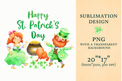 Happy Patricks Day. Sublimation design with Leprechauns