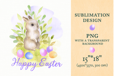 Happy Easter. Sublimation design with Bunny