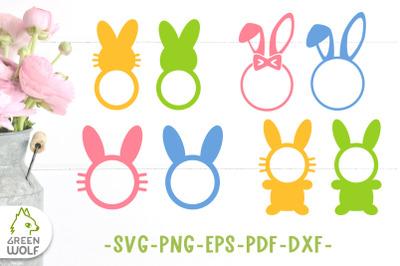 Easter bunny monogram svg bundle Bunny svg cut files Easter monogram