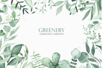Greenery watercolor collection