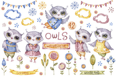 Owl clipart watercolor illustrations. Cute baby Owl graphics png.