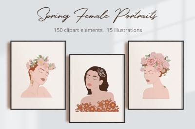 Spring Female Portraits  Illustration Set