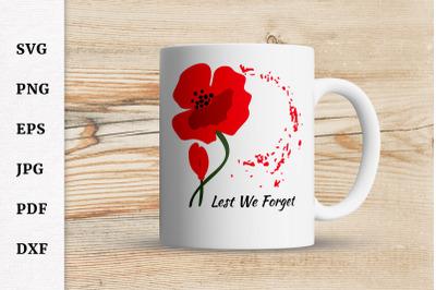 Lest we forget SVG, Veterans SVG, Remembrance Day SVG