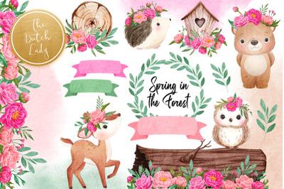 Spring Forest Animal Clipart Set