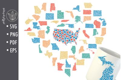 Bundle - 50 States and USA shape heart designs