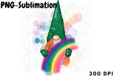 St.Patricks Png | Spring Gnome Sublimation | Rainbow Design
