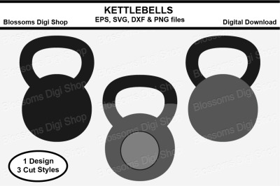 Kettlebells SVG, EPS, DXF and PNG cut files