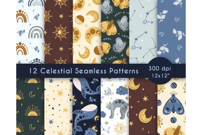 Celestial kids seamless patterns set