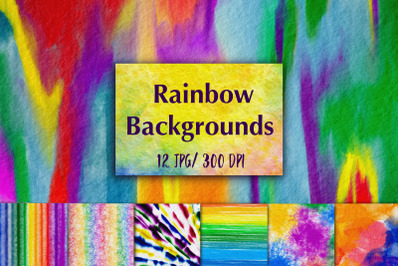 12 Colorful Rainbow Abstract Backgrounds.