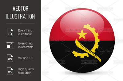 Round glossy icon of Angola