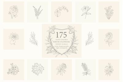 Birth-Flowers. Trendy Plants, Logos