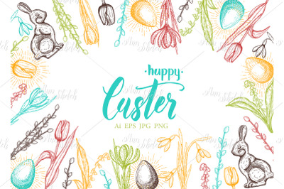 Vector Spring Easter card