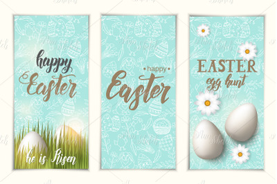 Set of greeting Easter banners