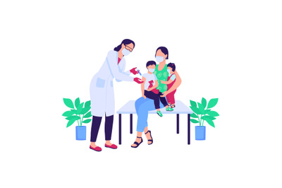 Doctor vaccinating children flat color vector faceless characters
