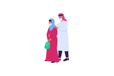 Arabian husband and wife in medical masks flat color vector character