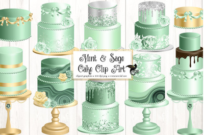 Mint and Sage Cakes Clip Art