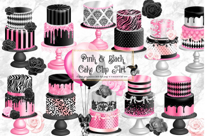 Pink and Black Cakes Clip Art