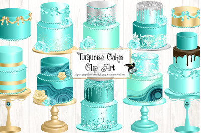 Turquoise Cakes Clip Art