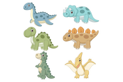 Set of Six Cute Doll Dinosaurs Character